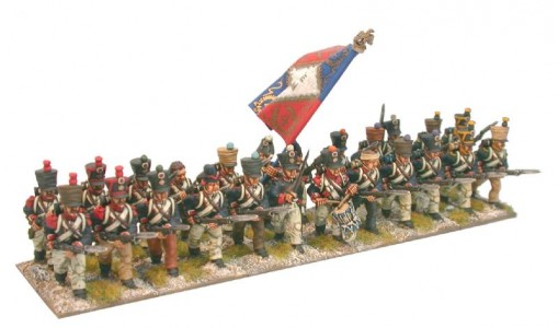 28mm Napoleonic French Line Infantry, campaign dress / painted by Brush Strokes
