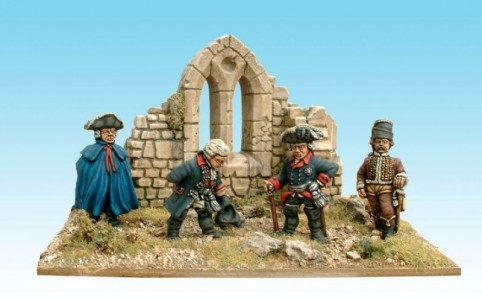 28mm SYW Fredrick the Great and staff (GP5 pack) / painted by Kevin Dallimore. Ruined building supplied by Kevin.