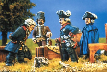28mm SYW Fredrick the Great and staff (GP5 pack / painted by Kevin Dallimore. (GP5 = figures only, barrels etc not supplied)