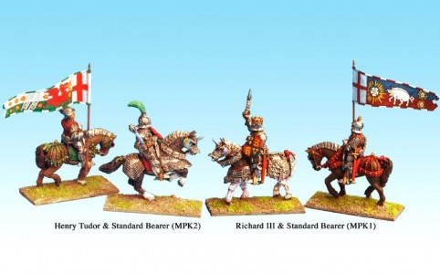 28mm Henry Tudor and Richard III with standard bearers / painted by Bill Thornhill. (packs sold unpainted)