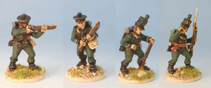 28mm Napoleonic British - 95th Riflemen - BN117, 120, 121, 125 / painted by Eric Bonsell