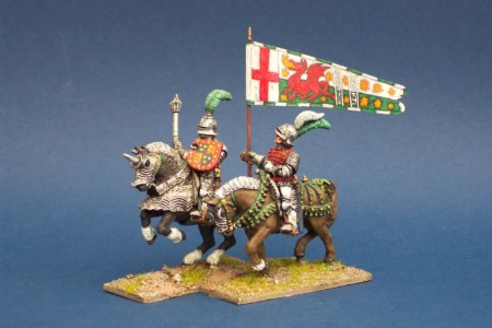 28mm Wars of the Roses Henry Tudor & Standard bearer /  painted by Bill Thornhill. MPK2 pack (sold unpainted)