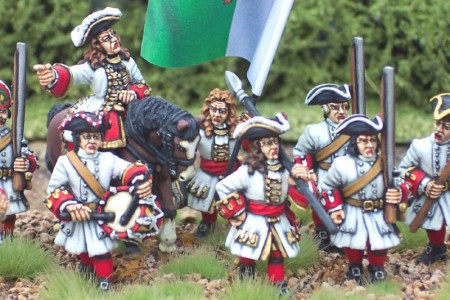 Spanish Succession Danish Infantry / painted by Steve Dyer . Flag by Reiver Castings.