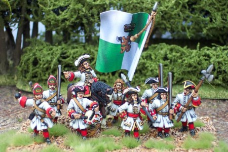 Spanish Succession Danish Infantry / painted by Steve Dyer. Flag by Reiver Castings.