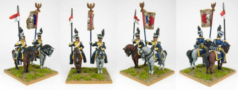 28mm Napoleonic French Vistula Lancers - Std Bearer & Lancer. / painted by Sascha Herm, using DWNC Polish codes.