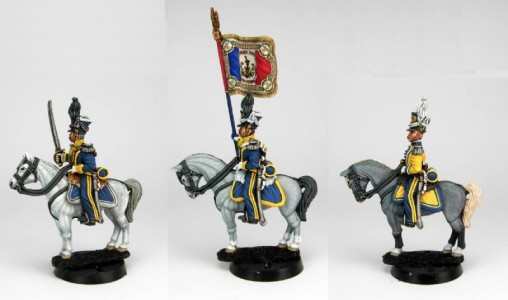 28mm Napoleonic French Vistula Lancers - officer, std bearer & bugler. / painted by Sascha Herm, using DWNC Polish codes.