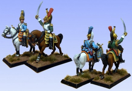 28mm Napoleonic French - Empress's Dragoon Officer & Trumpeter - (FNC111 & LTIA and FNC109 & LT3B)  / painted by Bob Cater.