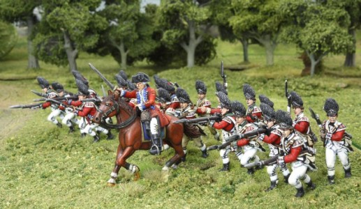 40mm AWI British, charge of British Grenadiers. / General painted by Tony Runkee.