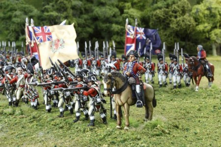40mm AWI British Infantry group. / Generals painted by Tony Runkee. Flag by Jon Hutchinson.