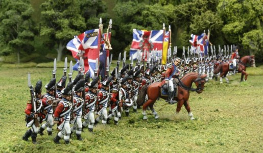 40mm AWI British Infantry advancing./ Generals painted by Tony Runkee. Flags by Jon Hutchinson.