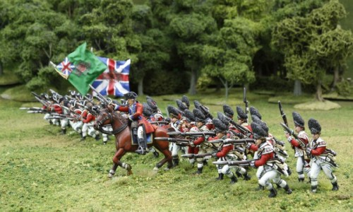 40mm AWI British Grenadiers & Infantry charging. / General painted by Tony Runkee. Flags by Jon Hutchinson.