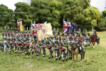 40mm AWI British Infantry lines./ Generals painted by Tony Runkee. Flags by Jon Hutchinson.