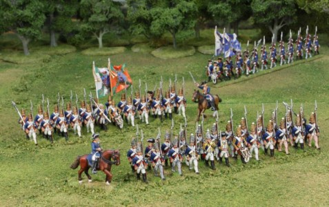 40mm AWI Hessians Advancing group1. / Generals painted by Tony Runkee. Foot figures painted by Steve Dyer. Flags by Jon Hutchinson.