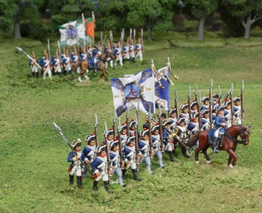 40mm AWI Hessians Advancing group2 / Generals painted by Tony Runkee. Foot figures painted by Steve Dyer. Flags by Jon Hutchinson.