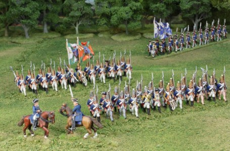 40mm AWI Hessians Advancing group3 / Generals painted by Tony Runkee. Foot figures painted by Steve Dyer. Flags by Jon Hutchinson.