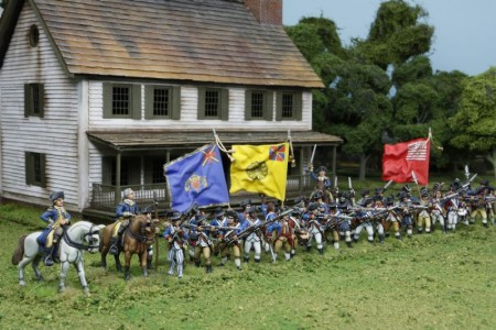 40mm AWI Continental defenders / Generals painted by Tony Runkee, flags by John Hutchinson