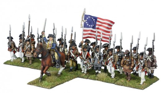 40mm AWI Continental General leading New York Infantry / General painted by Tony Runkee, flag by John Hutchinson