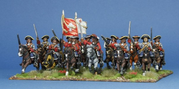 28mm Late 17th C - Sir Patrick Sarsfield's Regiment of Horse /  painted by Meic Kelly, flags by Warfare Miniatures.
