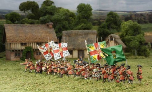 28mm Late 17th C - Kirke's & Trewlawney's Regiments. / painted by Phil Robinson. Flags by Jon Hutchinson.