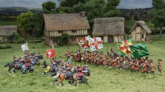 28mm Late 17th C - Kirke's & Trewlawney's Regiments, Sarsfield's charge / painted by Meic Kelly & Phil Robinson. Flags by Jon Hutchinson & Warfare Miniatures.
