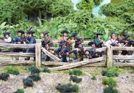 40mm AWI Militia  Figures / painted by John Morris - Mystic Spirals. Terrain by Dave Bodley -  Grand Manner