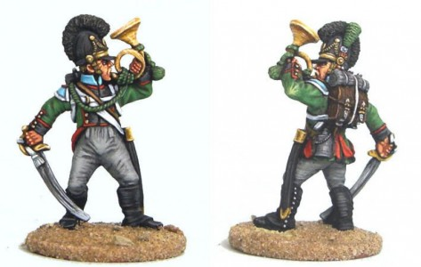 28mm Napoleonic Bavarian Schutzen hornist - BVN22 /  painted by Bob Cater