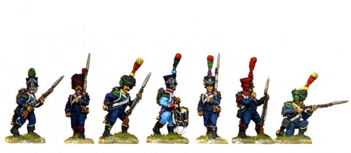 28mm Napoleonic French Light Infantry group / painted by Ian Stables