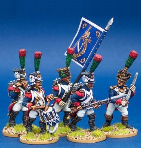28mm Napoleonic French Middle Guard Fusilier Chasseurs  / painted by Steve Bowerman. Fanion by GMB Designs
