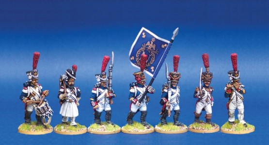 28mm Napoleonic French Middle Guard Fusilier Grenadiers / painted by Steve Bowerman. Fanions by GMB Designs.