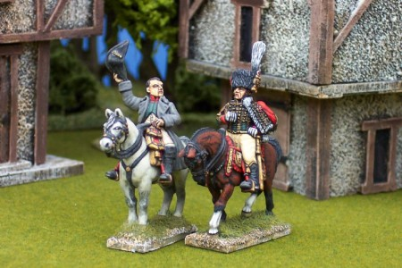 28mm Napoleonic French - Napoleon (FNP1) + Desnouettes (FNP16) / painted by Ian Stables