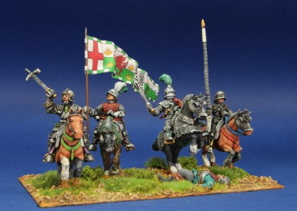 28mm WoR. Henry Tudor mounted group. Flag by John Hutchinson