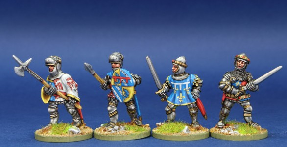 28mm HYW. MPK12 pack painted by Chris Lawton. Figures left to right = Boucicault Marshal of France, Guichard Dauphin, Charles Duke of Orleans, Charles D'Albret Constable of France