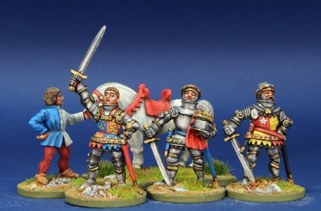 28mm HYW, MPK9 pack painted by Chris Lawton. Personalities left to right = Groom & horse, Henry V, John Cheyney, Earl of Oxford.