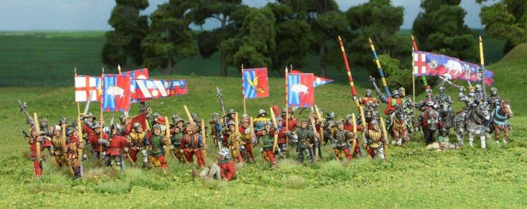 28mm Wars of the Roses Richard III's troops / Flags by Jon Hutchinson and Ancient & Modern Army Supplies.