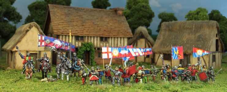 28mm Wars of the Roses Richard III and troops / Flags by Jon Hutchinson and Ancient & Modern Army Supplies / Buildings by TM Terrain.