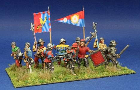 28mm WoR Infantry group. Flags by Battleflags.