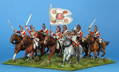 40mm AWI British 17th Light Dragoons, painted by Tony Runkee. Flag by Jon Hutchinson.