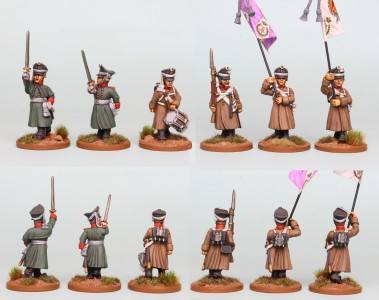 28mm Russian Reinforcement pack RNRPK17 (front & rear view) painted by Richard Abbott. Flags by GMB Designs.