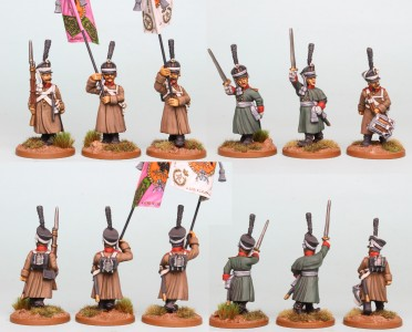 28mm Russian Reinforcement pack RNRPK19 (front & rear view) painted by Richard Abbott. Flags by GMB Designs.
