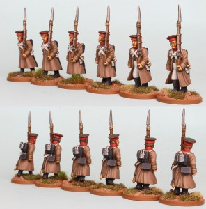 28mm Russian Reinforcement pack RNRPK20 (front & rear view) painted by Richard Abbott.