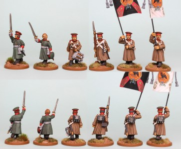 28mm Russian Reinforcement pack RNRPK21 (front & rear view) painted by Richard Abbott. Flags by GMB Designs.