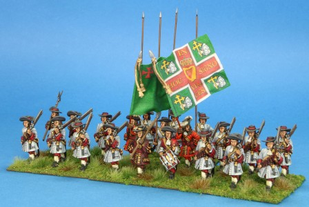 28mm Late 17th Century. Earl of Antrim's Foot painted by Artmaster Studio. Flag by John Hutchinson