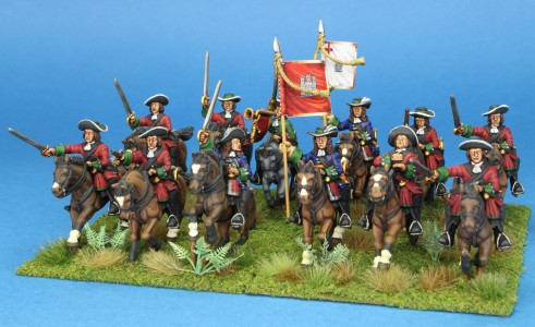 28mm Late 17th Century. Wolseley's Enniskillen Horse, painted by Artmaster Studio. Flags by Warfare Miniatures.