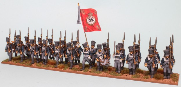 28mm Napoleonic Prussian packs PSNRPK1 & 3 painted as Musketeer Battalion of the 10th Infantry Regiment (1st Silesian) Painted by Richard Abbott, flag by GMB