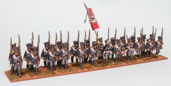 28mm Prussian Napoleonic Reinforcement Packs PSNRPK1 & 3, painted by Richard Abbott as a Musketeer Battalion of the 10th Infantry Regiment, 1st Silesian. Flag by GMB