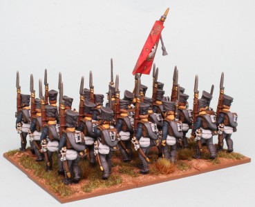 28mm Prussian Napoleonic Reinforcement Packs PSNRPK1 & 3, painted by Richard Abbott as a Musketeer Battalion of the 10th Infantry Regiment, 1st Silesian. Rear view. Flag by GMB