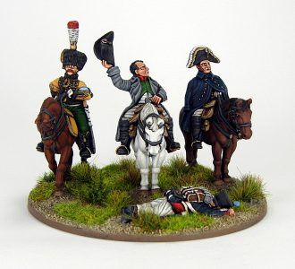 28mm French Command base. Napoleon, Marshall Ney and ADC, image 1. Painted by Sascha Herm.