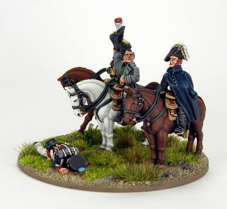 28mm French Command base. Napoleon, Marshall Ney and ADC, image 2. Painted by Sascha Herm.