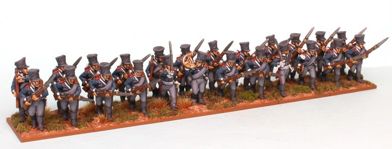 28mm Napoleonic Prussian Fusiliers. Painted as the 9th Colberg Regiment by Richard Abbott.