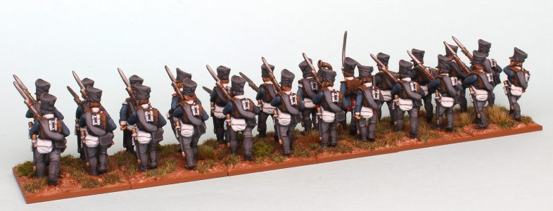 28mm Napoleonic Prussian Fusiliers. Rear view. Painted as the 9th Colberg Regiment by Richard Abbott.